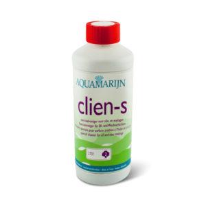 Een fles Aquamarijn Clien-S Speciaalreiniger voor olie of wax