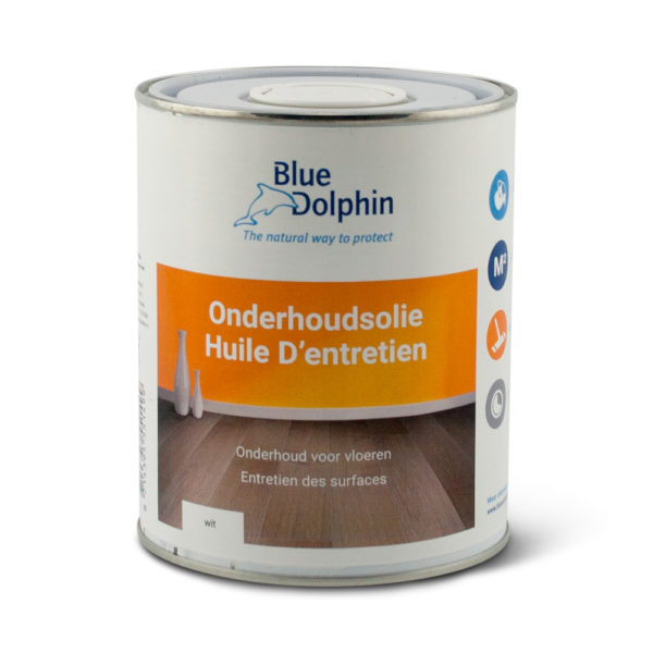 Een blik Blue Dolphin Onderhoudsolie wit
