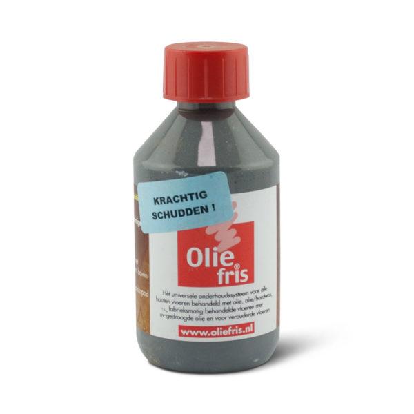 Een flesje Oliefris Onderhoudsolie grijs