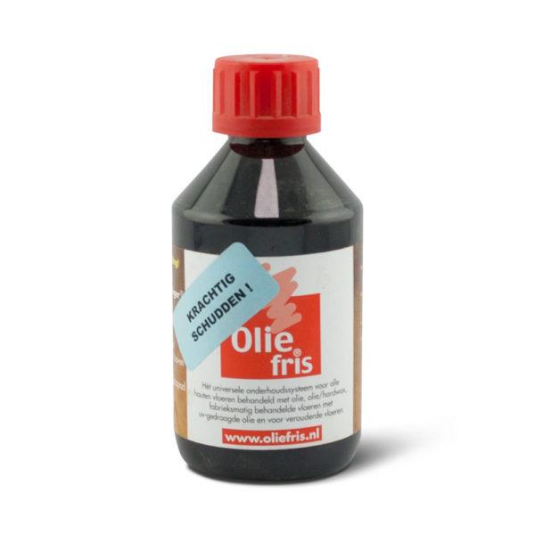Een flesje Oliefris Onderhoudsolie zwart